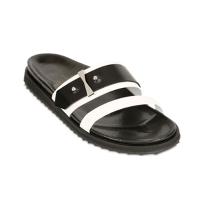 Two Tone Leather Slide Sandals