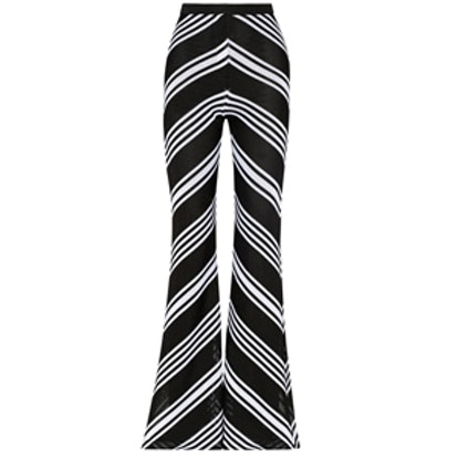Chevron-Patterned Knitted Flared Pants