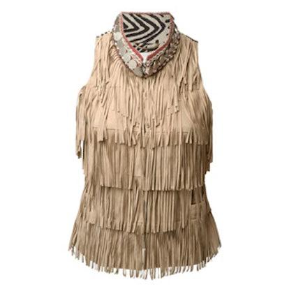 Aztec Collar Fringed Gilet