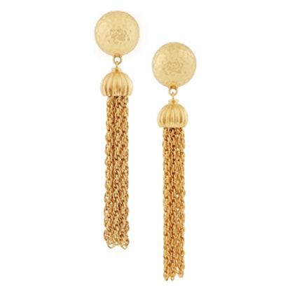 Gold-Plated Tassel Clip Earrings