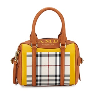Monogram Leather & Check Mini Satchel Bag