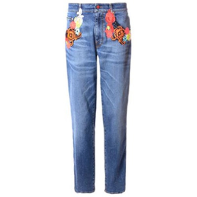Floral-Embroidered Jeans