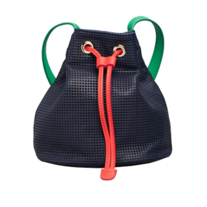 Colorblock Leather Bucket Bag