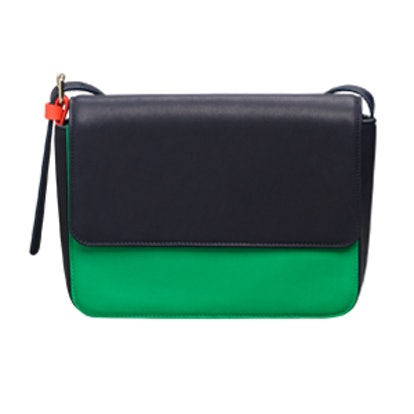 Colorblock Leather Shoulder Bag