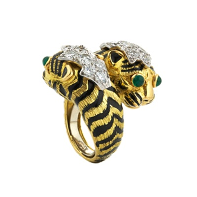 Tiger Crossover Diamond & Emerald Ring