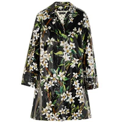 Floral-Print Coated Cotton Raincoat