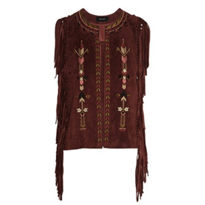 Maxime Fringed Embroidered Suede Vest