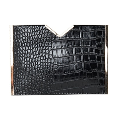 Metal Trim Textured Croc Clutch