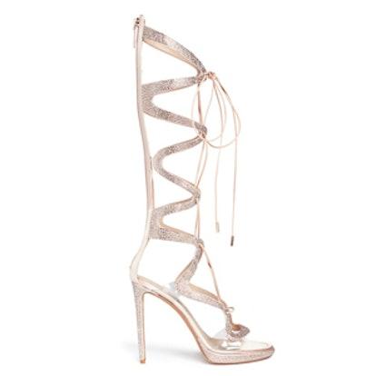 Crystal Pavé Satin Caged Sandals