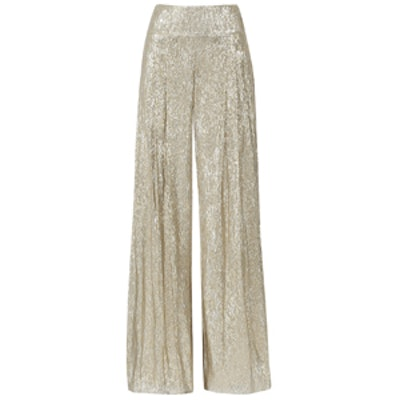 Pleated Lamé Wide-Leg Pants
