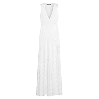 Lace-Paneled Crochet-Knit Maxi Dress