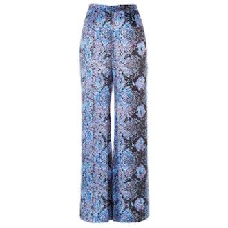 Blue Paisley Print Palazzo Trousers