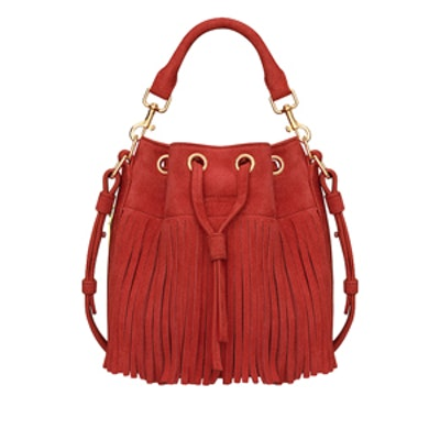 Red Fringe Bucket Bag