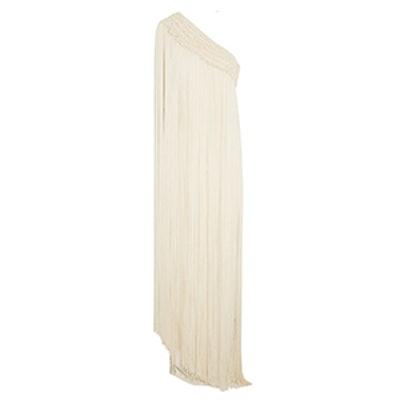 Long Tassel fringed silk-crepe gown