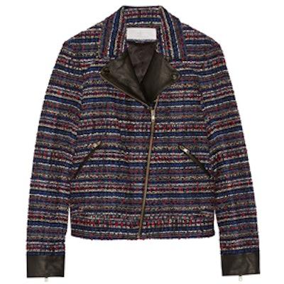 Leather-Trimmed Bouclé-Tweed Jacket
