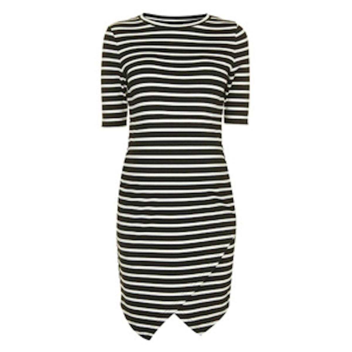 Maternity Stripe Asymmetric Bodycon Dress