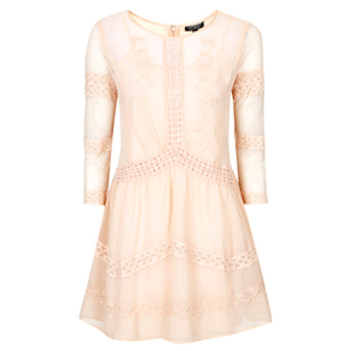 Chiffon Crochet Trim Dress