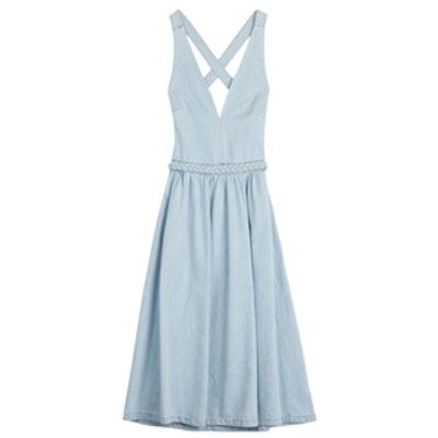 Braided Belt Denim Dress