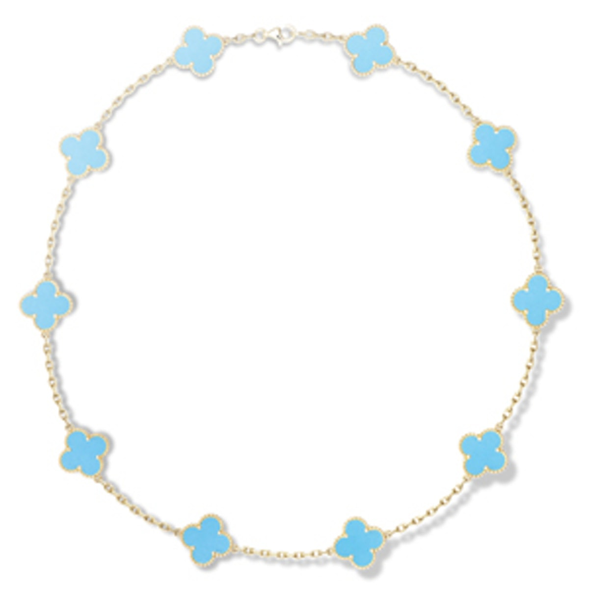 Vintage Alhambra Yellow Gold & Turquoise Necklace