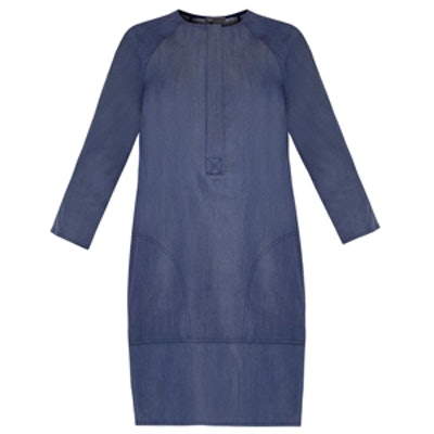 Collarless Denim Dress