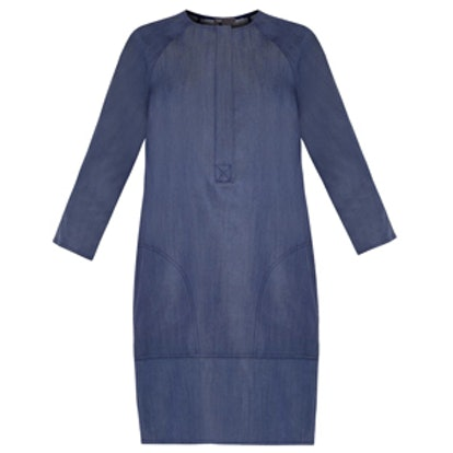 Collarless Denim Dress