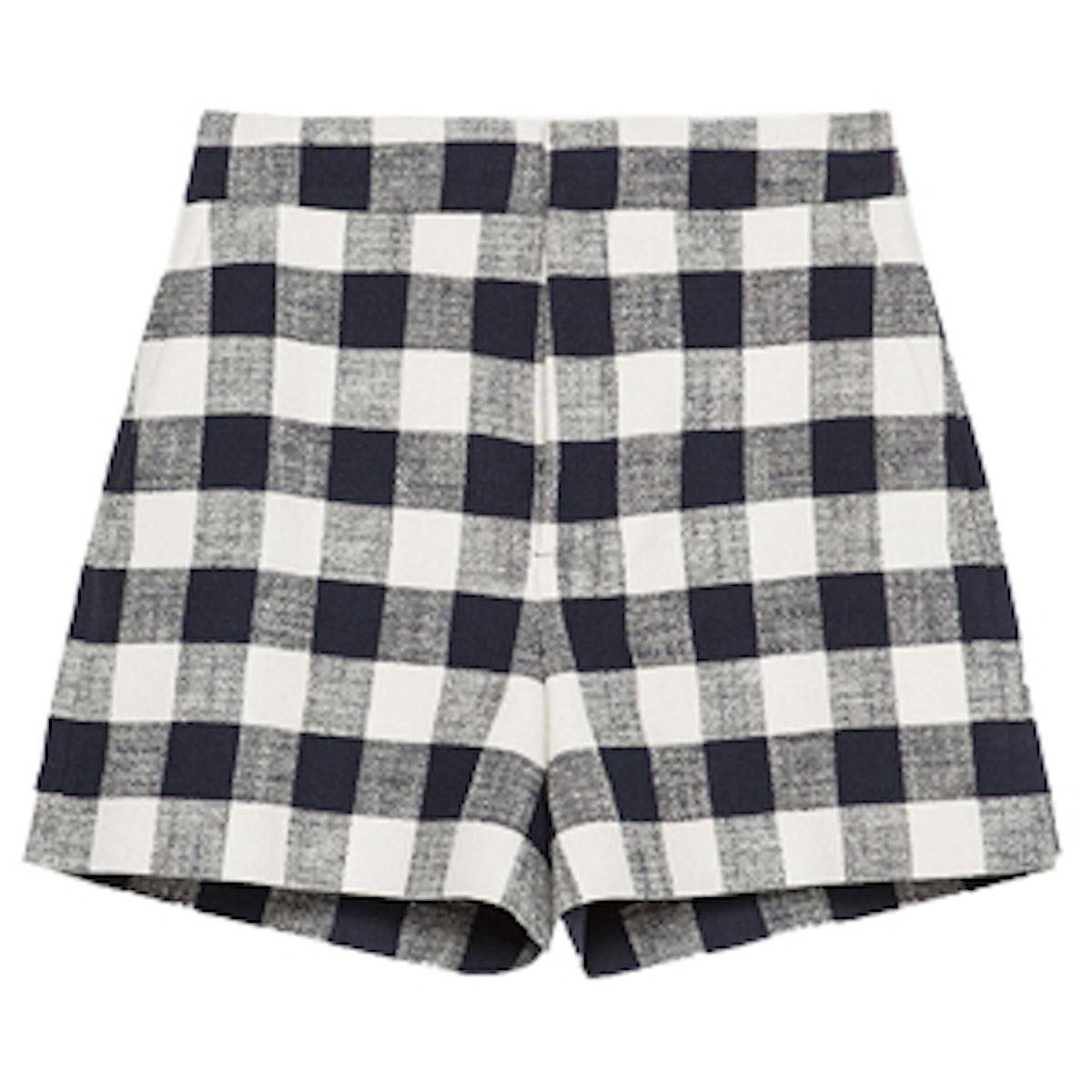 High Waisted Check Shorts