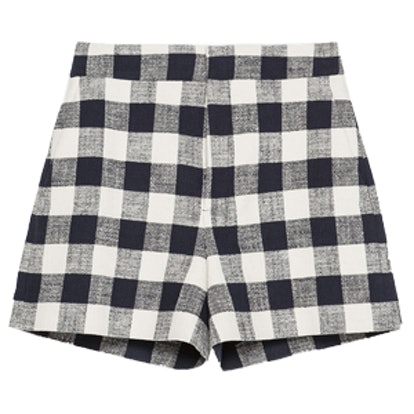 High Waisted Check Shorts