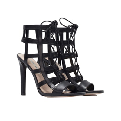 Leather High Heel Wraparound Sandals