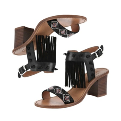 Patchouli Beaded and Fringed Leather Sandals