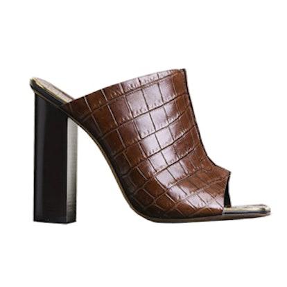 Straight Heel Mule In Brown Stamped Crocodile Calfskin
