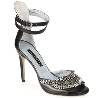 Rina Crystal & Chain Leather Sandals