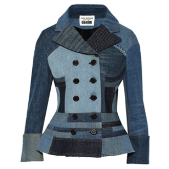 Patchwork Denim Peplum Jacket