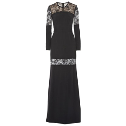 Lace Paneled Stretch Crepe Gown