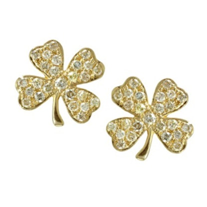 Yellow-Gold and Pave Clover Stud Earrings