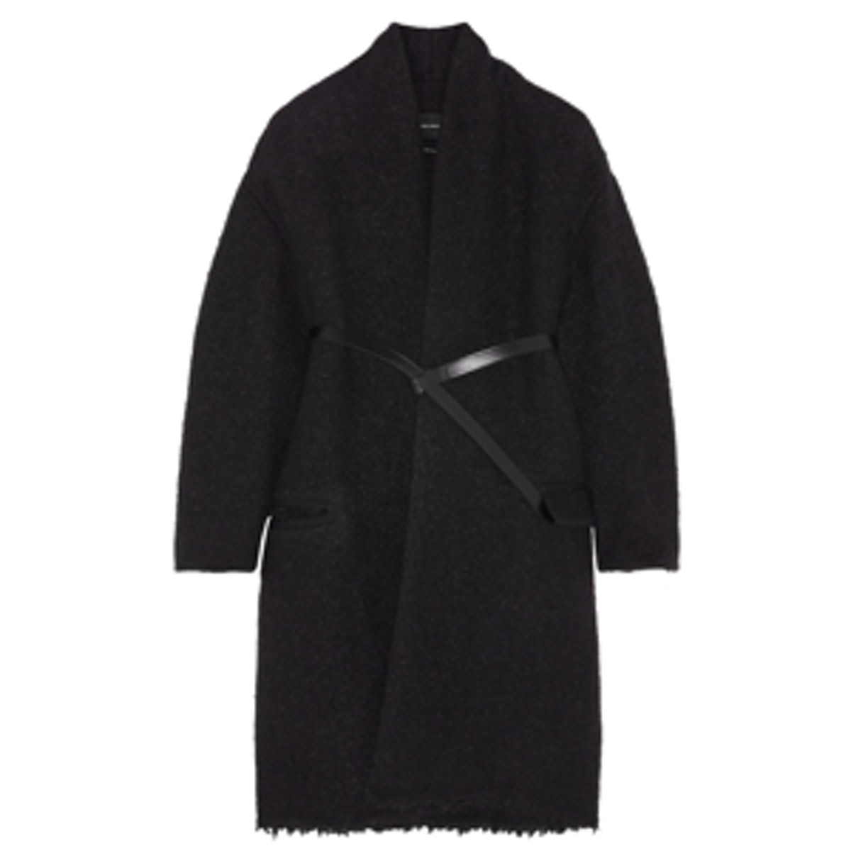Seal Belted Wool-Blend Boucle Coat