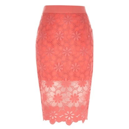 Coral Floral-Lace Skirt