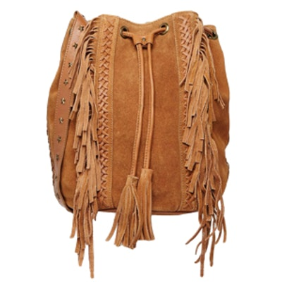 Leather Bucket Bag With Fringing