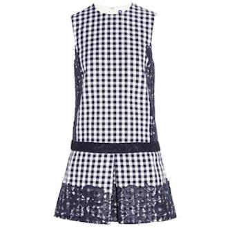 Lace-Paneled Gingham Cotton Blend Twill Mini Dress