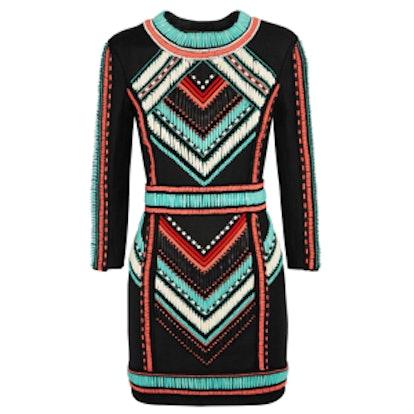 Embellished Basketweave Mini Dress