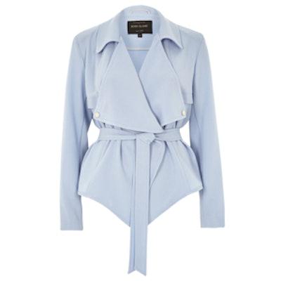 Blue Cropped Drape Trench Jacket