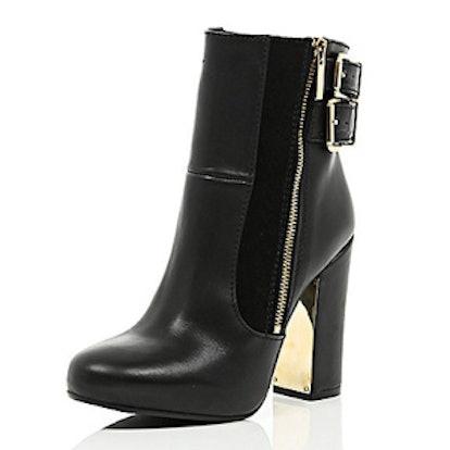 Black Leather Metal Blook Heel Ankle Boots