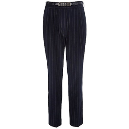 Navy Pinstripe Belted Pants