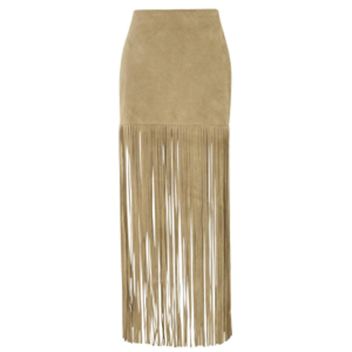 Mimi Fringe Leather Skirt