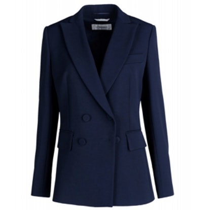 Navy Crepe Double-Breasted Blazer
