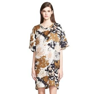 'Chester' Camo Print Silk T-Shirt Dress
