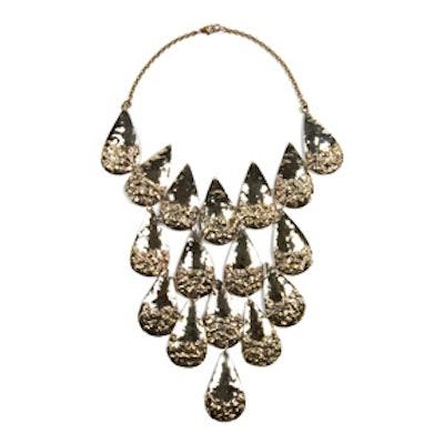Brass Melted Teardrop Cuirass Necklace