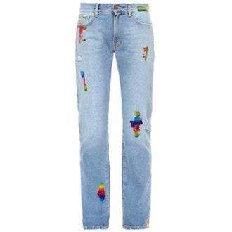 Simon Rainbow-Foil Boyfriend Jeans