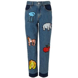Blue Sequin Animal Boyfriend Jeans
