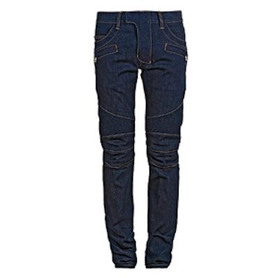 Slim Fit Raw Denim Biker Jeans