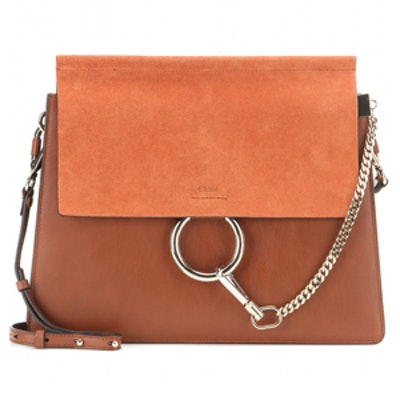 Faye Leather and Suede Shoulder Bag